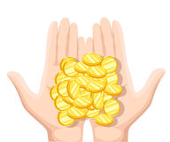 Coins in the palms of men. Coins in hand, money in hand. Vector illustration flat design. Concept of charity, alms, donate. Receiv. E, giving, to take, ask for Royalty Free Stock Images