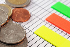 Coins on paper with charts Stock Images