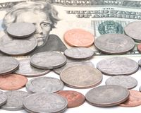 Coins and paper money. US coins and a twenty dollar bill Stock Photography