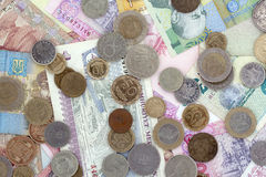 Coins and Paper money Stock Image