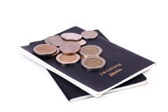 Coins and passports Royalty Free Stock Photos