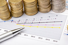 Coins and pen over chart Royalty Free Stock Images