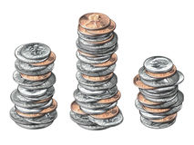 Coins. Photo Illustration of three stacks of U.S. coins Royalty Free Stock Image