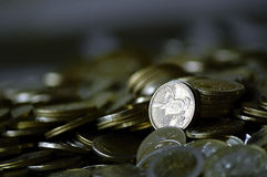 Coins. Picture of many coins in a table royalty free stock photography