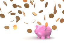Coins and piggy Stock Images