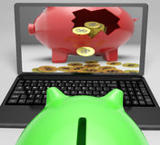 Coins Piggy Screen Shows Savings And Investment Stock Photography