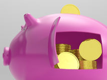 Coins In Piggy Shows Savings And Investment Royalty Free Stock Images