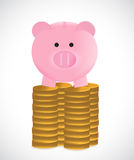Coins and piggybank illustration design Royalty Free Stock Photo