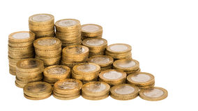 Coins. Pile of British £2 coins, UK currency Royalty Free Stock Photo