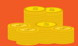 Coins. Pile of dollar coins on nice colored background Vector Illustration
