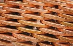 Coins pile plot side Stock Photos