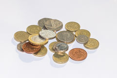 Coins. A pile of shiny coins stock photography
