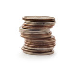 Coins a pile on white background isolated Royalty Free Stock Image