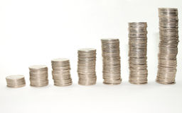 Coins piles Royalty Free Stock Image