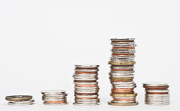 COINS PILES STACKS. Money- different coins piles stacks stock images
