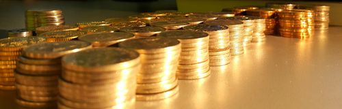 Coins. Pillars of coins Royalty Free Stock Images