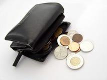 coins plånboken arkivbilder