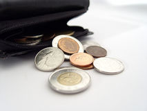 coins plånboken royaltyfri bild