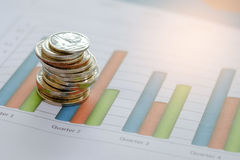 Coins placed on the graph. Concept businness,Coins placed on the graph Stock Photos