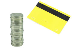 Coins and plastic card Stock Photography