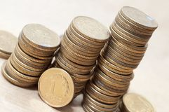 Coins of polish currency zloty Stock Photos