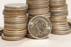 Coins of polish currency zloty Stock Photo