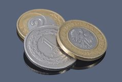 Coins of Polish zloty on the dark background. Coins of Polish zloty  on the dark background Royalty Free Stock Photo