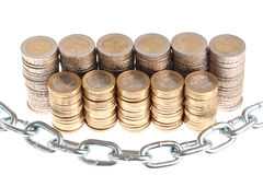 Coins protected by massive metal chain isolated Stock Image