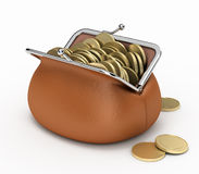 Coins in purse. Coins in a broun purse isolated on white Stock Image