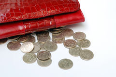 Coins with purse Royalty Free Stock Photography