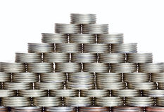 coins pyramiden Arkivbilder