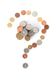 Coins questions mark. On a white background royalty free stock photos
