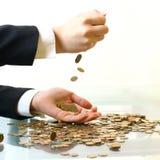 Coins rain Stock Image