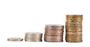 Coins Rasing Chart Royalty Free Stock Photos