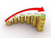 Coins and red arrow Royalty Free Stock Photo