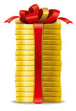 Coins with red bow Royalty Free Stock Photos