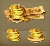 Coins retro vector icons Royalty Free Stock Image