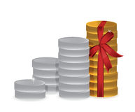 Coins and ribbon illustration design Royalty Free Stock Photo