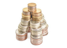 Coins roubles money in form tower financial Royalty Free Stock Photo