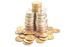 Coins roubles money in form tower financial Royalty Free Stock Image