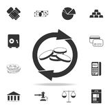 Coins with round arrows icon. Detailed set of finance, banking and profit element icons. Premium quality graphic design. One of th stock illustration