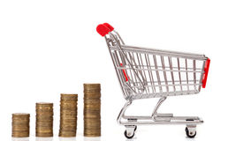 The coins rows and empty shopping basket Royalty Free Stock Photo