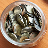 Coins rubles in a glass jar Stock Photo