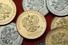 coins russia Rysk dubblett-hövdad örn fotografering för bildbyråer