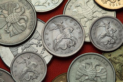 Coins of Russia. Saint George killing the Dragon Stock Photos