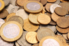 Coins Russian rubles of different denomination Royalty Free Stock Images