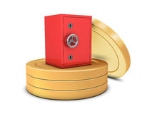 Coins and safe deposit Royalty Free Stock Images