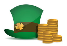Coins and saint patricks hat Royalty Free Stock Photos
