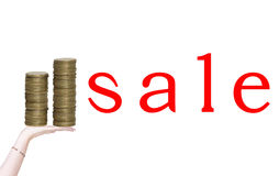Coins and sale Royalty Free Stock Image