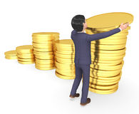 Coins Savings Means Business Person And Investment 3d Rendering Royalty Free Stock Photography
